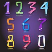 Papier origami colorés chiffres numéros avec fleurs — Vecteur