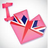 Origami paper I love United Kingdom heart card — Stock Vector