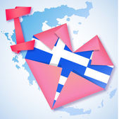 Origami paper I love Greece heart card — 图库矢量图片
