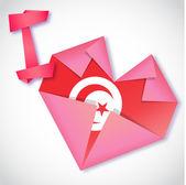 Origami paper I love Tunisia heart card — Stock Vector