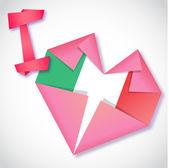 Origami paper I love Italy heart card — Stock Vector