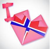 Origami paper I love Norway heart card — Stock Vector