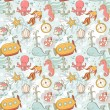 Underwater creatures cute cartoon seamless pattern — Stock Vector #26304047