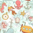 Stock Vector: Underwater creatures cute cartoon seamless pattern