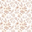 Vintage hand-drawn food set seamless pattern - Stock Vector