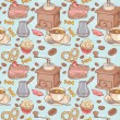 Sweet coffee and candies seamless pattern — Stock Vector #26304615