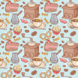 Stock Vector: Sweet coffee and candies seamless pattern