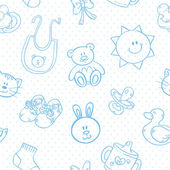 Baby toys cute cartoon set seamless pattern — Stock Vector
