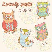 Cute cartoon owl stylish sticker collection — Stock Vector