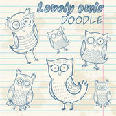 Cute cartoon owl stylish sticker doodle — Vector de stock