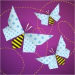Stock Vector: Colorful origami bees with patterns