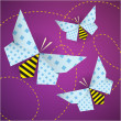 Colorful origami bees with patterns — Stock Vector