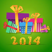 New year gift boxes 2014 celebration card — Stock Vector