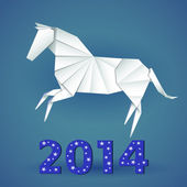New year origami paper horse 2014 — Stock Vector
