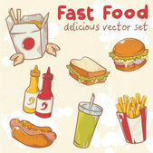 Fastfood vector set with burger, hot dog and french fries — Stock Vector
