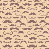 复古时髦的小胡子时尚无缝模式 — 图库矢量图片