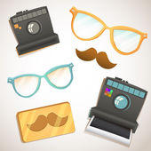 Hipster trendy items vintage collection with glasses, mustache, camera — Stock Vector