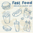Fastfood delicious hand drawn vector set — Stock Vector