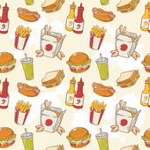 Fastfood delicious hand drawn vector seamless pattern — Stock Vector