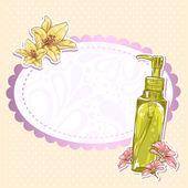 Cilt bakımı makyaj şişe izole kart — Stok Vektör