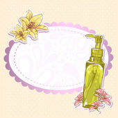 护肤化妆瓶隔离的卡 — 图库矢量图片