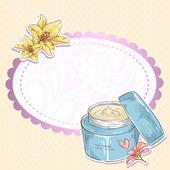 Huidverzorging make-up crème jar geïsoleerde kaart — Stockvector