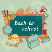 Back to school board card in cartoon hand drawn style — Stock Vector