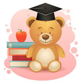 Back to school cute teddy bear toy illustration — Stock Vector