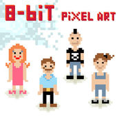 Cute 8-bit pixel character set of casual people — Stock Vector