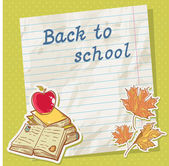 Back to school card on paper sheet with study items — Stock Vector