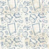 Terug naar school naadloze patroon met diverse studie items — Stockvector