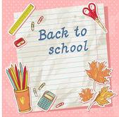 Tillbaka till skolan-kort på pappers-täcker med studie objekt — Stockvektor