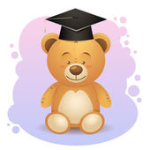 Back to school cute teddy bear toy in graduation hat — Stock Vector