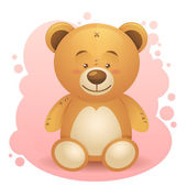 Cute teddy bear realistic drawing isolated — Stock Vector