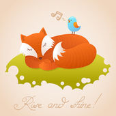 Cute baby card with sleeping red fox — Stock Vector