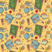 Back to school seamless pattern with various study items — Stock Vector