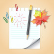 School notepad with pencil and autumn leaf — Stock Vector