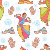 Indian dancer girl seamless pattern — Stock Vector