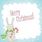 Söt kanin jul gratulationskort — Stockvektor