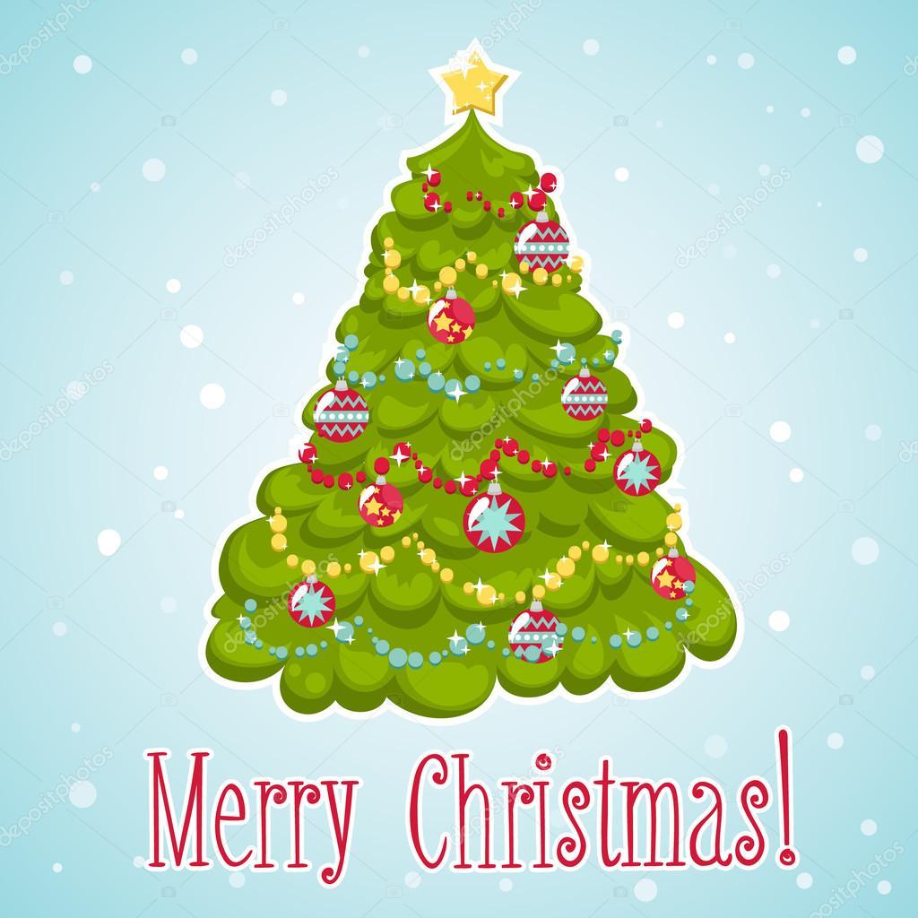 Dibujos animados rbol de navidad decorado con los - Comprar arboles de navidad decorados ...