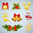 Christmas realistic festive set of items — Stock Vector