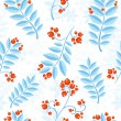 Stock Vector: Floral seamless pattern with winter ash berry