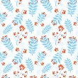 Floral seamless pattern with winter ash berry — Stock Vector