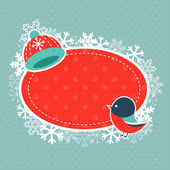 Xmas card with bullfinch and warm hat — Stock Vector