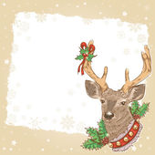 Christmas vintage postcard with deer — Vector de stock