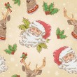 Christmas Santa Claus and Deer characters seamless pattern — Stock Vector
