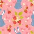 Rabbits and wild strawberries seamless pattern — Stock Vector