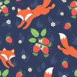 Stock Vector: Foxes and wild strawberries seamless pattern