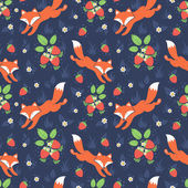 Foxes and wild strawberries seamless pattern — Stock Vector