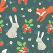 Rabbits and fox with seamless pattern — Stock Vector